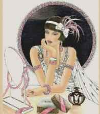 Cross Stitch Chart ART DECO LADY IN WHITE DRESS WITH MIRROR No.1-54
