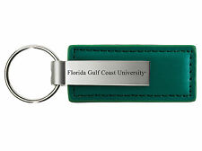 Florida Gulf Coast University - Leather and Metal Keychain - Green
