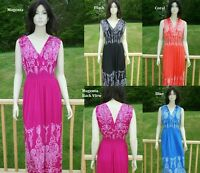 PLUS SIZE ABSTRACT SMOCKED EMPIRE WAIST MAXI DAY EVENING WEAR DRESS 1X 2X 3X