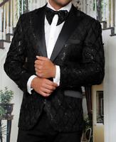 Men Insomnia Manzini Blazer Sequin Stage Performer Prom MZE156 Black Satin Peak