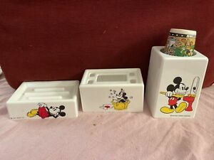3 Pc Vintage Walt Disney Mickey Mouse Soap Dish Toothbrush Cup Holder