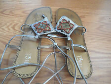 ROUGE HELIUM: beaded  Ankle Strap Woman Sandals Shoes size 10