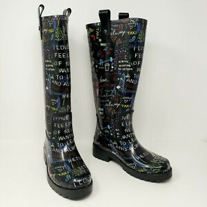 DKNY Rain Boot Womens 6 NYC New York Graffiti Tall Rubber Rain Boots Knee High