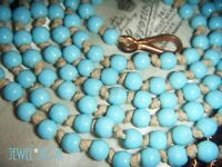 ANTIQUE VICTORIAN TURQUOISE GLASS KNOTTED VINTAGE LONG NECKLACE DOG LEAD CLASP