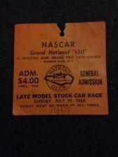 "Rare 1964 Nascar Grand National ""150"" Ticket Stub Watkins Glen"