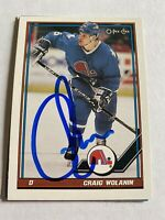 Craig Wolanin Signed 91/92 O Oee Chee Quebec Nordiques Card # 199