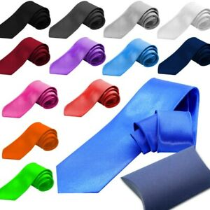 Men Cravat Tie Necktie Wedding Carnival Wide Unisex Satin Classic Plain Giftbox