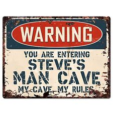 PP2798 WARNING ENTERING STEVE'S MAN CAVE Chic Sign Home Decor Funny Gift