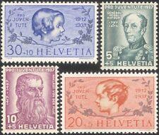 Switzerland 1937 Dufour/de Flue/Pro Juventute/Welfare Fund/People 4v set  n45451