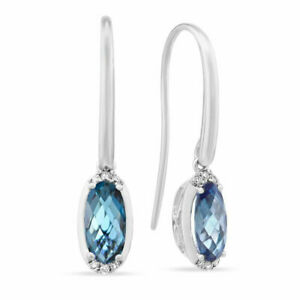 3.15 Ct Oval Cut Natural Blue Topaz Earrings Solid 14Kt White Gold Diamond Hoops