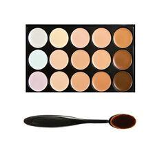 15 tinten kleur Concealer make-up palet Kit Make Up Set + ovaal make-up borstel