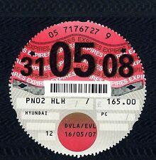 UK Road Tax Disc - dated 31.05.08 - Road Fund Licence for 12 months