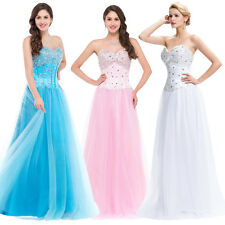 BEADED Long Evening Cocktail Dresses Princess Gown Bridesmaid Prom Wedding Party