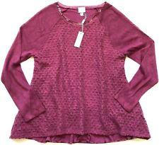 CUPIO Women's Swing Style Long Raglan Sleeve Sweater Pullover Size Med NWT