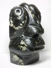 Inuit Eskimo soapstone carving sculpture SHAMAN FACE by Leo Uttaq