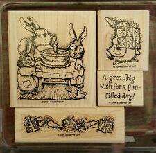 Stampin' Up BIRTHDAY BUNNIES Set of 4 Wood Mounted Rubber Stamps Lot