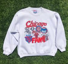 Rare VTG 90s White Hanes Chicago Sports Fan Bulls Cubs Bears Sweat Shirt M