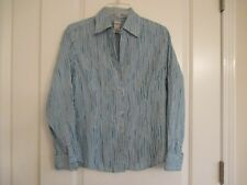 Chico's  size 0 blue & white striped krinkle cotton blend long sleeve blouse Ex.