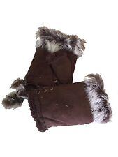 New Dark Brown Fur Trimmed Fingerless Gloves
