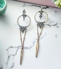 Vintage art deco gold & silver crystal stone dangling chain spike stud earrings