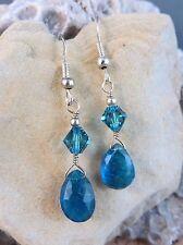 Natural Blue Apatite Briolette Dangle Sterling Silver Wire Hook Earrings #189