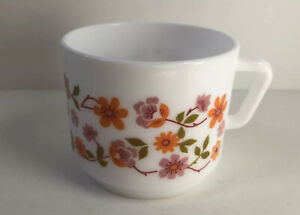 Arcoroc France White Coffee Cup Orange Flower Design