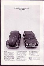 1965 Original Vintage MG Sports Sedan Vs. VW Car Photo Print AD