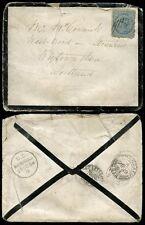 NEW ZEALAND 1884 to SCOTLAND STRANRAER..PACKET LETTER GLASGOW OVAL..MOURNING ENV