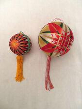 Vintage Pair of Japanese Yarn String Temari Ball Ornaments