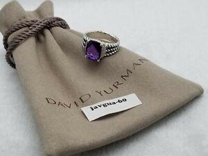 David Yurman Sterling Silver Petite Amethyst & Diamond Wheaton Ring Size 6
