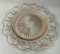 "Vintage Translucent Pink Pressed Glass Candy Dish Cut Outs Rim 8 1/4"" Diameter"