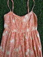 Mimi Chica Orange Floral High Low Spaghetti Strap Rayon Dress Size Small