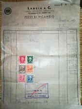1943 VECCHIA FATTURA originale - LANCIA AUTO TORINO con marche da bollo