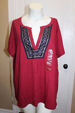 Northcrest Burgundy Red Sequins Layered Look Cotton Knit Top T- Tee shirt  3X