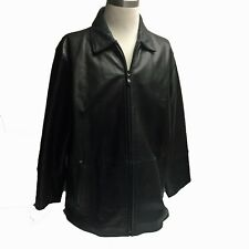 Men's PERRY ELLIS PORTFOLIO Black Soft Leather Fully Lined Jacket Coat Size XL