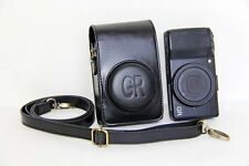Leather Camera Case Bag Cover Pouch and Strap for Ricoh GR II or GR Black