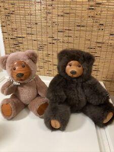Robert Raikes 1989 Applause Plush Teddy Bear Cookie Wood Face & Feet And Friend