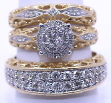Yellow Gold Over Men's & Women's Diamond Trio Sets Wedding Band Engagement Rings