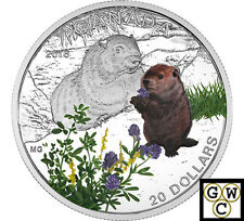 2016'Woodchuck-Baby Animals' Color Prf $20 Silver Coin 1oz .9999 Fine(NT)(17910)
