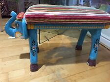 Ian Snow Acacia Wood Hand Made Elephant Chair Stool Bench Ethnic