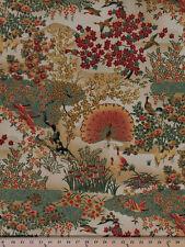 Japanese Birds Peacocks Flowers Gold Glitter Cotton Fabric Print by Yard D777.11