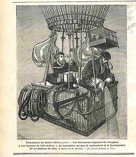 """BALLON Hot air Balloon """"Etoile Polaire"""" Montgolfière GRAVURE ANTIQUE PRINT 1874"""