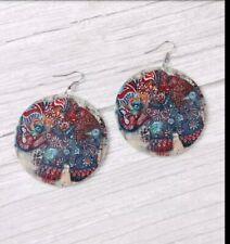 Elephant earrings Large Wooden Enamel Round circle dangle silver lightweight USA