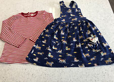 JOJO MAMAN BEBE GIRL AGE 4-5 DRESS TOP SET PUPPYS VGC