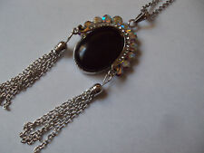 "Blue Goldstone austrian crystal silvertone necklace focal 4"" chain 24"" MST1267"