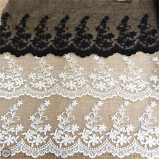 Floral  Vintage Lace Trim Sewing Fabric Tulle Eyelash Embroidered By The Meter