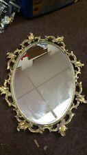 Vtg. Stylebuilt Ormolu Gold Tone Oval Vanity Mirror Tray