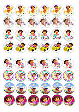 48 DORA BIRTHDAY CUPCAKE  WAFER RICE EDIBLE FAIRY CAKE TOPPERS