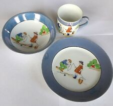 Vintage Noritake China Hand painted 3pc Dish Set Children Fishing Bowl Plate Cup