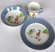 Vintage Noritake China Hand painted 3pc Dish Set Children Fishing Bowl Plate Cup